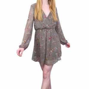Final Touch Chiffon Surplice Brown Floral Dress M